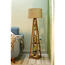 Crosscut furniture Wooden Floor Lamp, Beige, Natural Jute, Pack of 1