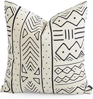 Hofdeco Premium Decorative Throw Pillow Case African MUD Cloth Print Bogolan Natural Geo Stripe Pattern Heavy Weight Fabric Cushion Cover 20x20 inches 50x50cm