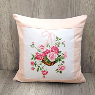 Handmade Throw Pillow Case Pink Roses Floral Cushion Cover Hand Embroidered Modern Throw Pillows Cover