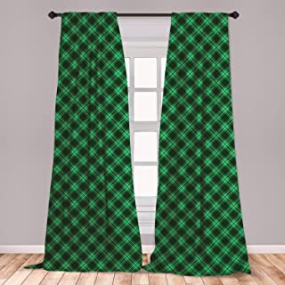 Ambesonne Plaid Curtains, Diagonal Tartan Vibrant Green Color Geometrical Design with Stripes and Checks, Window Treatments 2 Panel Set for Living Room Bedroom Decor, 56