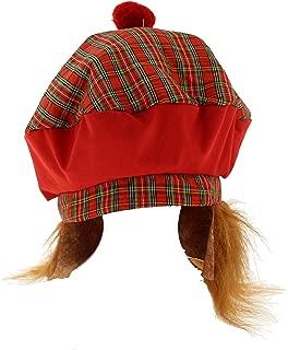 Scottish Tartan Bobble Hat with Ginger Hair Red