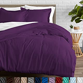 Bare Home Duvet Cover and Sham Set - King - Premium 1800 Ultra-Soft Brushed Microfiber - Hypoallergenic, Easy Care, Wrinkle Resistant (King, Plum)