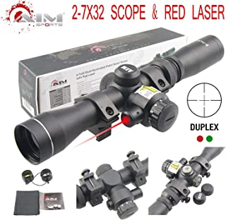 TACFUN AIM Sports 2-7X32MM Long Eye Relief Scout Scope with RED Laser & Duplex Reticle
