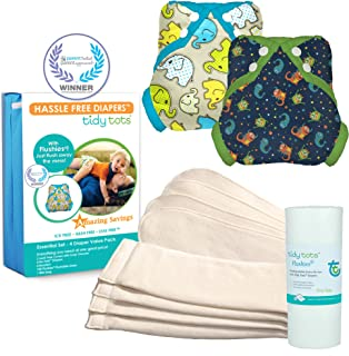 Tidy Tots Diaper Hassle Free 4 Diaper Snap Essential Set (Monsters/Elephants)