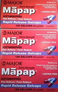 [3 Pack] Mapap® Extra Strength 500mg Rapid Release Gelcaps Acetaminophen Pain Reliever/fever Reducer 100 Ct (Pack of 3) *Compare to the Same Active Ingredients Found in Tylenol® Rapid Release Gelcaps & Save*