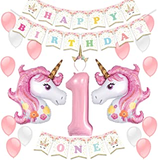 Kreatwow Unicorn Party Decoration Supplies for 1st Birthday with Unicorn Headband Party Balloons