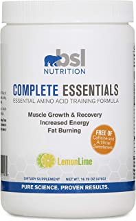 BSL Nutrition, Complete Essentials, LemonLime, Caffeine Free Pre-Workout, Amino Acid Supplement, Increase Energy, Support Muscle Growth and Recovery, 476 Gram jar (28 Servings)