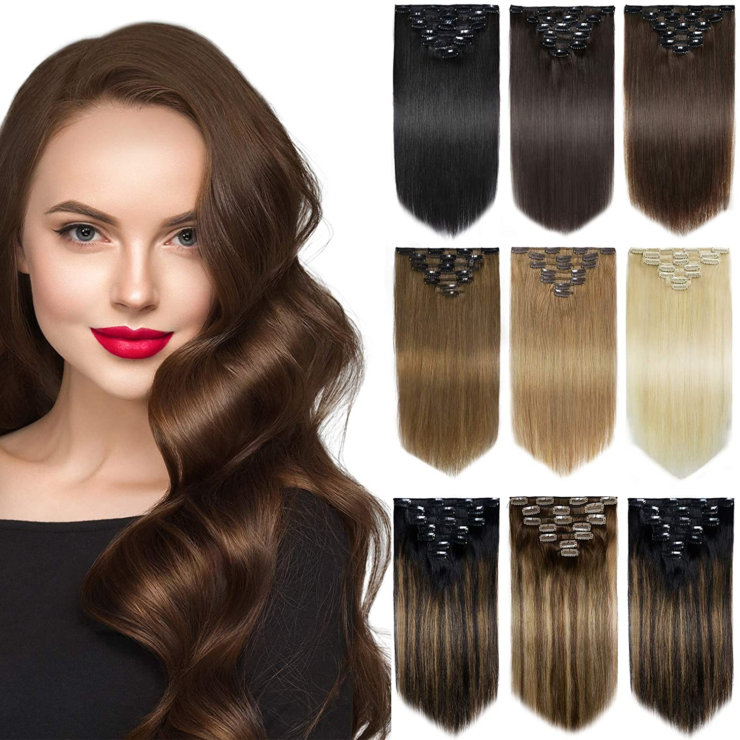 Yamel Remy Clip in Ranking TOP2 Hair Extensions 7Pcs 16 Manufacturer regenerated product Human Clips Real