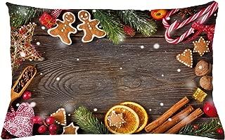 ABAKUHAUS Hombre De Pan De Jengibre Funda para Almohada, Especias Galletas, con Estampas Digitales Personalizadas Lavable, 65 x 40 cm, Multicolor