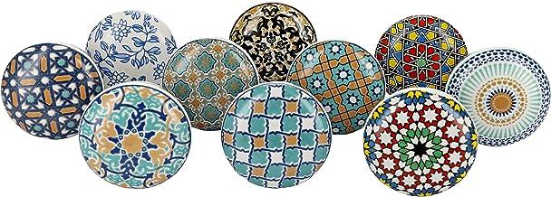 G Decor Set van 10 deurknoppen, motief: Positive Energy VI, van keramiek, in vintage/shabby chic-stijl, voor kast, lade, h...