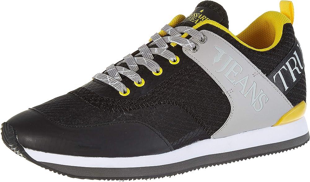 Trussardi jeans, running pu ultralight, scarpe con lacci uomo,sneakers,in tessuto e pelle sintetica 77A002239Y099999