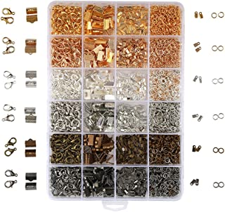 OPount 24 Style 2460 Pcs/Box Jewelry Making Kit 6 Colors with Open Jump Rings, Lobster Clasps, Cord Ends and Ribbon Ends