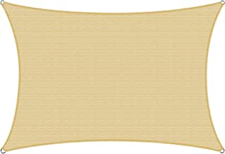 Amgo 16' x 16' Beige Square Sun Shade Sail Canopy Awning, 95% UV Blockage, Water & Air Permeable, Commercial and Residenti...