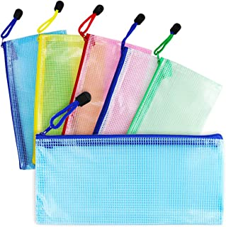Newbested 30 PCS 5 Colors A4 Plastic Zip File Paper Document Folder Bags Storage Pouch Waterproof Plastic Double Layer Zipper File Bags Invoice pouches Bill Bag Pencil Pouch Pen Bag