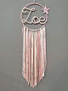 rose gris et blanc avec dentelle Attrape r/êve pr/énom personnalisable en tricotin Hauteur 90 cm environ