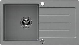 VBChome Spüle Grau 77 x 44 cm Granit Einzelbecken Einbauspüle gesprenkelt reversibel Verbundspüle  Siphon Waschbecken