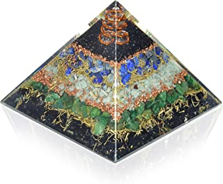 New Orgone Pyramid for Healing Heart   Black Tourmaline   Lapis Lazuli   Amazonite   Green Jade Orgonite Pyramid for EMF P...