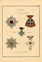 Rare Antique Print-MILITARY ORDERS-PRUSSIA-BLACK EAGLE-RED-PL 30-Rochemont-1843