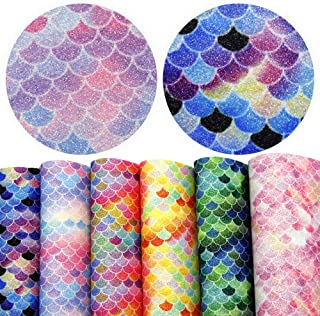 David accessories Mermaid Fish Scales Printed Leather Fabric Glitter Leather Sheets 6 Pcs 8