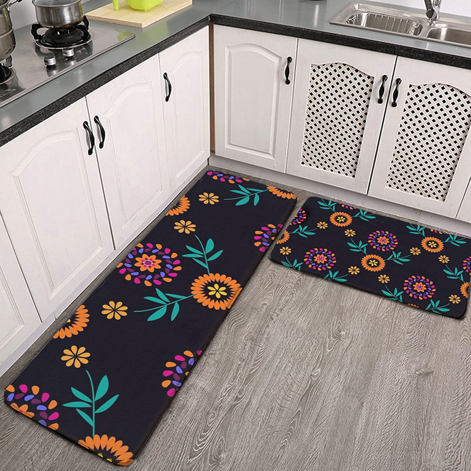 OcuteO Kitchen Ranking TOP7 Rugs and Mats Set Dia Colorful 2 Piece OFFicial mail order Flowers De