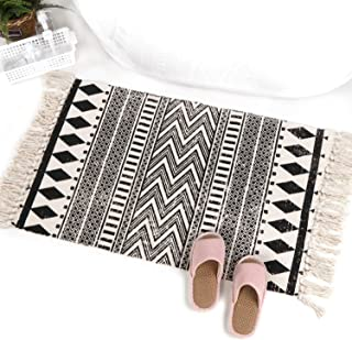"KIMODE Moroccan Cotton Area Rug 24"" X 35""| Fringe Throw Rugs| Hand Woven Diamond Print Tassel Welcome Door Mat| Entryway F..."