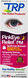 The Relief Products PinkEye Relief PM Homeopathic Eye Ointment - for Temporary Relief of Crusting & Burning, 0.14 oz.