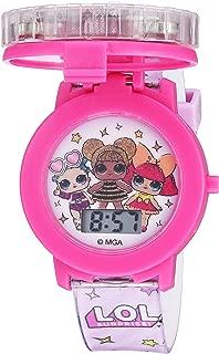 Girls' Quartz Watch with Plastic Strap, Pink, 17.4...