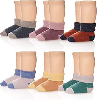 6 Pairs Children's Winter Thick Warm Wool Socks Soft Kids Socks Random Color