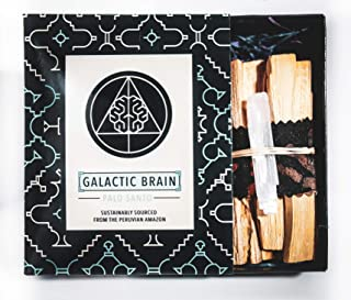 Galactic Brain Palo Santo Sticks | 12-15 High Resin Smudge Sticks Bundled with Selenite Stones in Gift Set | 3 Ounces of Palo Santo Wood for Cleansing Your Home