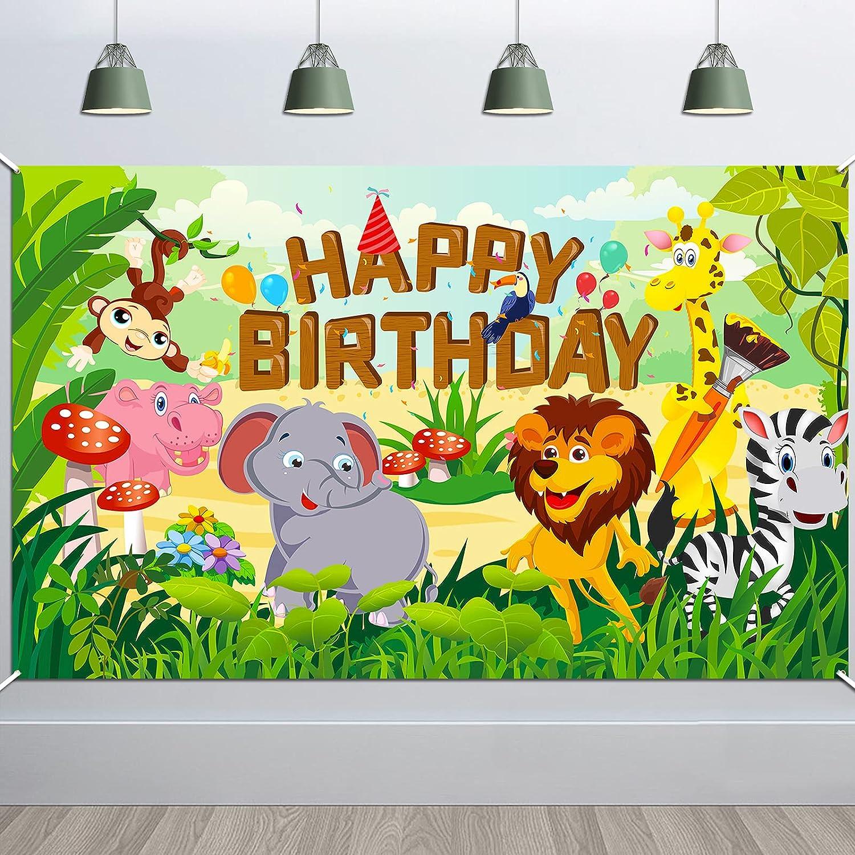 HOWAF Fabric Happy Spasm price Sale Birthday Banner Animal Jungle Theme for Birth