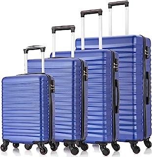 Fridtrip 4 PCS Luggage Sets TSA Lock Travel Suitcase Hardshell Carry On Luggage with Spinner Wheels (TSA Lock Blue)