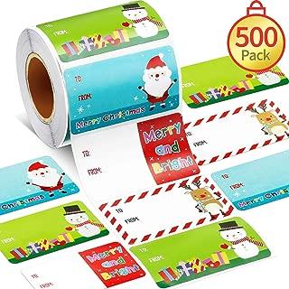 500 Pieces Christmas Gift Tags Christmas Santa Claus Stickers Self Adhesive Christmas Gift Tags Christmas Festival Birthday Wedding Holiday Decor