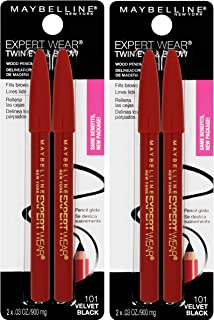 Maybelline New York Expert Wear Twin Brow & Eye Pencils Makeup, Velvet Black, 2 Count Twin (total 4 pencils )