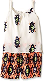 My Michelle Big Girls' Sleeveless Romper with Tie Back and Printed Shorts
