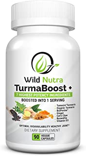 Wild Nutra TurmaBoost - Cats Claw & Tumeric Curcumin with extra boosters: Turmacin Organic Turmeric, Bioperine Black Pepper, Ginger, Boswellia & Vitamin D. Soothe, Joint Support and Vitamins for Knees