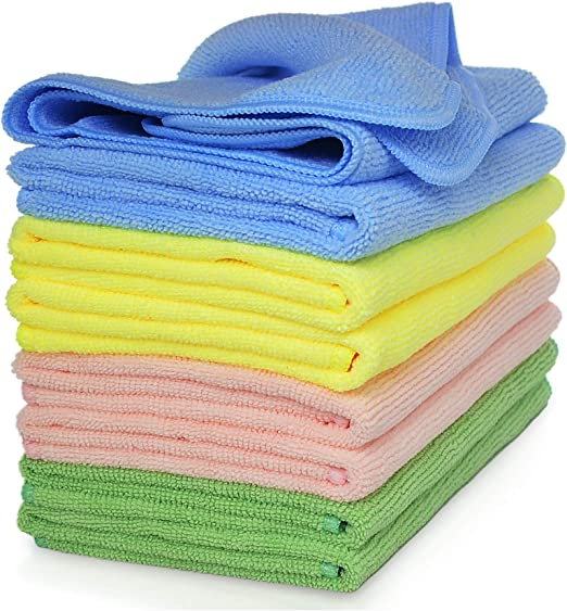 """Amazon.com: Microfiber Cloth By VibraWipe, Set of 8, Large Size 14.2""""x14.2"""", Kitchen Dish Towels For Drying Dishes, Microfiber Cleaning Cloth, Great For Trapping Dust, Dirt and Pet Dander, Machine Washable and Lint-Free : Health & Household"""