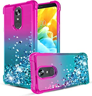 LG Stylo 4 Case,LG Stylo 4 Plus Case,LG Q Stylus Case,Quicksand Bling Glitter/Sparkle Heart-shaped Sequin TPU Bumper,Heavy Duty Shockproof Protective Case for Women/Girls.Pink/Teal