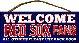 Artistic Reflections Welcom Sports Fans 4 x 10 Wood Plaque (RED SOX)