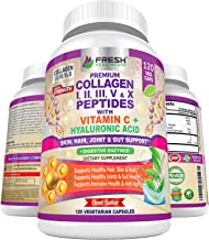Multi Collagen Pills with Type I, II, III, V & X Peptides with Vitamin C, Hyaluronic Acid and Digestive Enzymes for Enhanc...