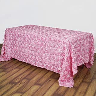 QueenDream Rosette Tablecloth Pink Floral Tablecloth 90x132 Inches Table Cover 3D