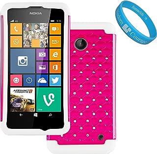 (Magenta, White) Elegant Diamond Back Cover with Additional Silicone Skin for Nokia Lumia 635 Windows Phone and SumacLife TM Wristband