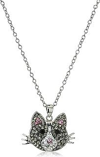 Vintage Silver Tone Rhinestone Cat Necklace