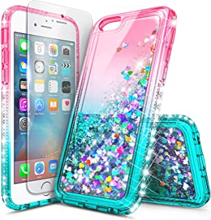 iPhone 5S Case, iPhone SE/5 Case, NageBee Glitter Liquid Quicksand Waterfall Floating Sparkle Bling Diamond Women Girls Kids Cute Durable Case w/[Screen Protector Clear] for iPhone 5/5S/SE -Pink/Aqua
