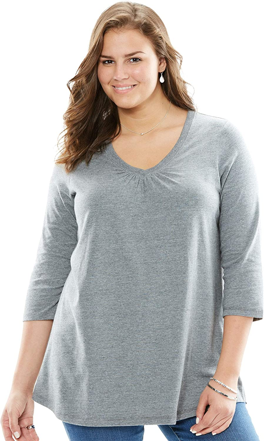 Woman Within Women's Plus Size Perfect Three-Quarter Sleeve Shirred V-Neck Tee Shirt