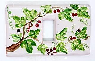 Placchette Bticino Magic Decoro Edere bacca Rossa Ceramica Handmade Le Ceramiche del Castello Made in Italy