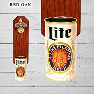 Wall Mounted Bottle Opener with Vintage Miller Lite Beer Can Cap Catcher