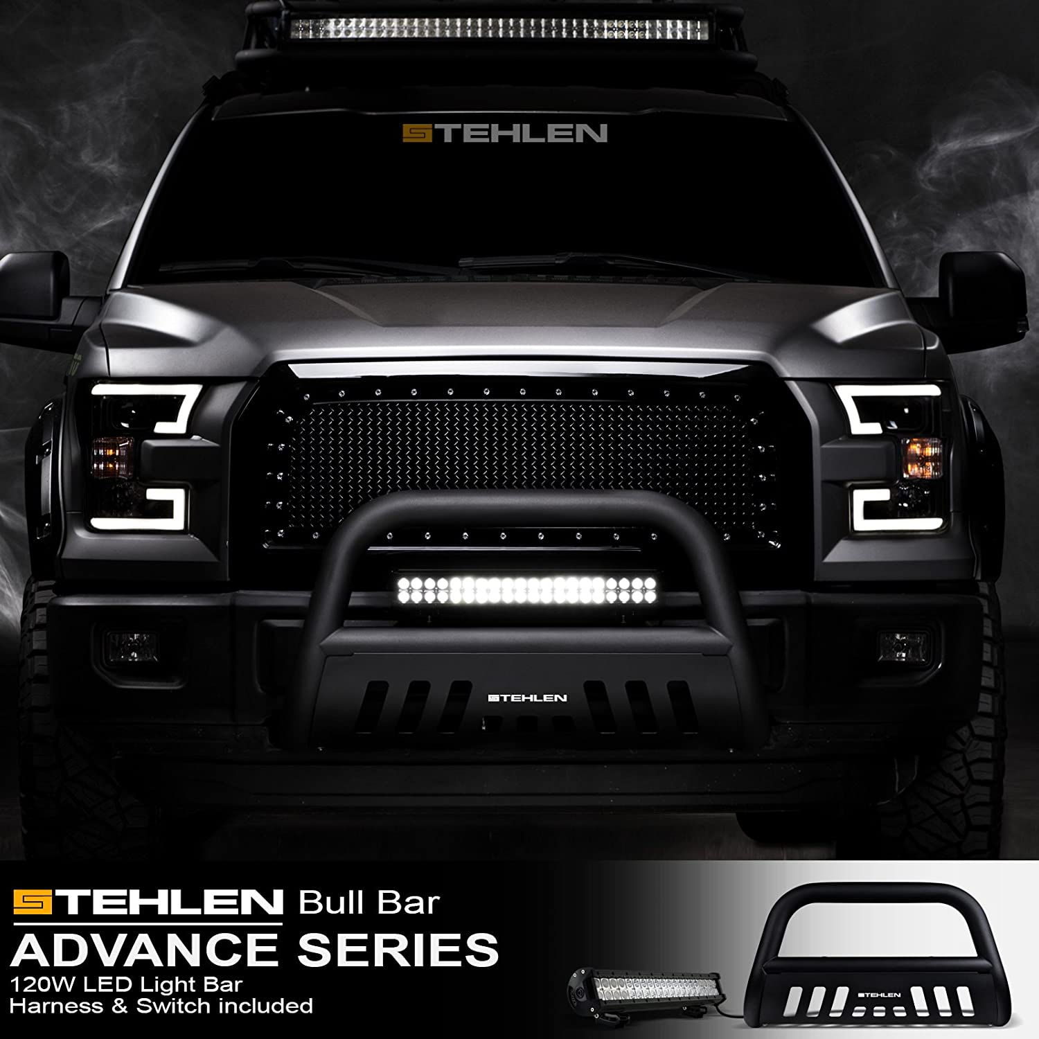 with 120W CREE LED Light Bar For 2005-2015 Toyota Tacoma Matte ...