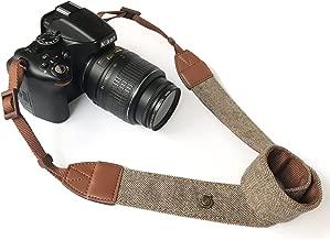 Camera Neck Shoulder Belt Strap,Alled Leather Vintage Print Soft Camera Straps for Women/Men for DSLR/SLR/Nikon/Canon/Sony/Olympus/Samsung/Pentax (Soft Brown New)