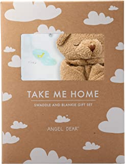 Angel Dear Swaddle and Blankie Gift Set, I Love My Planet with Brown Bear