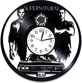 Kovides Winchester Brother Art Xmas Gift Idea for Girl Supernatural Room Art Lp Vinyl Retro Record Wall Clock Vintage Birthday Gift for Man Supernatural Clock Serial Art Wall Clock Large